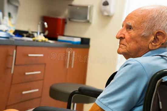 old man waiting for doctor